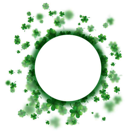 St Patrick s Day frame background. Lucky spring design with shamrock. Clover round border.