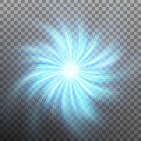 Effect of star with flare light with transparency isolated on transparent background.