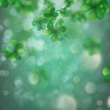 Abstract bokeh blur template with - trifolium clovers. Happy Saint Patrick s Day background.