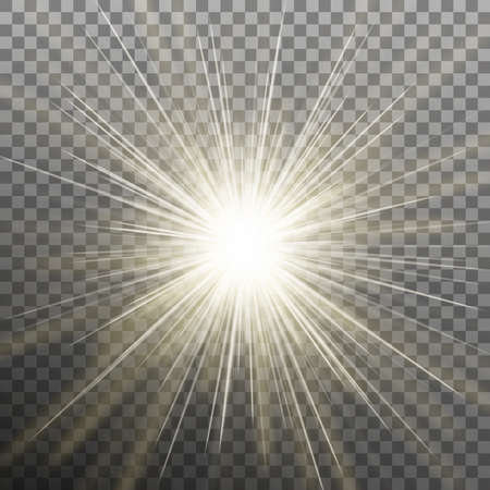 Glowing light burst effect with on transparent background.