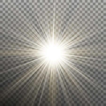 Bright shining star. Bursting explosion. Transparent effect. Eps 10 vector