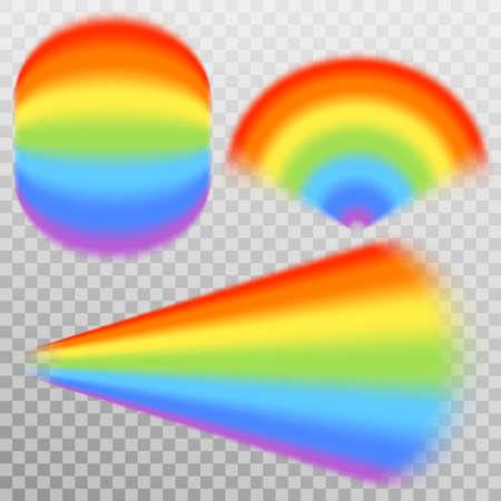 Set of realistic colorful rainbow, isolated on transparent background. Illustration