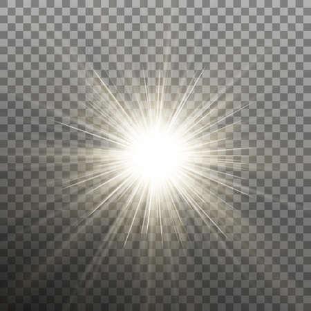 Glow light burst effect on transparent background.