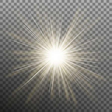 White glowing light burst explosion transparent effect.