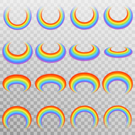 Set of realistic colorful rainbow. Isolated on transparent background. Vector illustration.