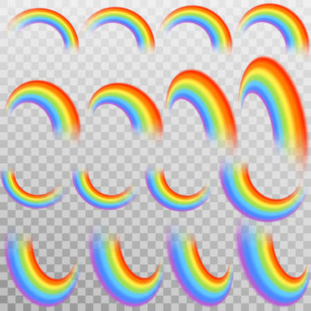Set of realistic colorful rainbow, isolated on transparent background. And also includes EPS 10 vector