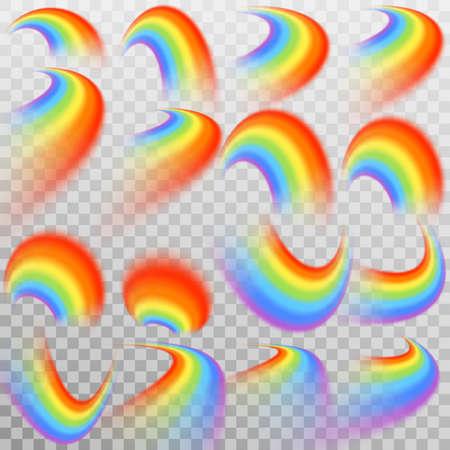 Set of realistic colorful rainbow. Illustration