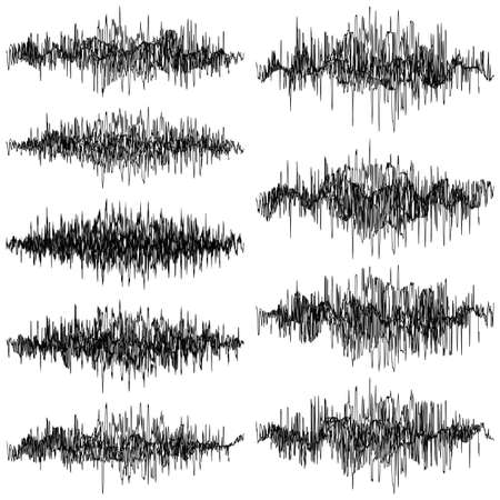 Set of abstract monochrome sound waves oscillating object. Ilustração