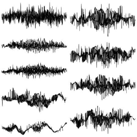 Set of abstract monochrome sound waves oscillating object. And also includes EPS 10 vector