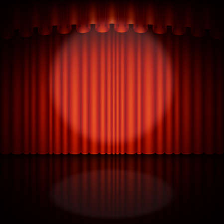Spotlight on stage and red curtain. Vector illustration. Illustration
