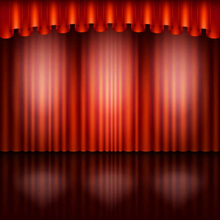 Spotlight on stage and red curtain. Vector illustration. Иллюстрация