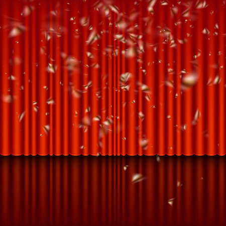 Stage with red curtain and streamer effect. And also includes EPS 10 vector Illustration