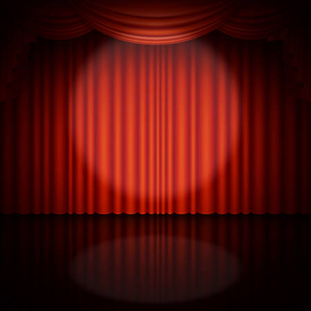 Spotlight on stage and red curtain. And also includes EPS 10 vector Vettoriali