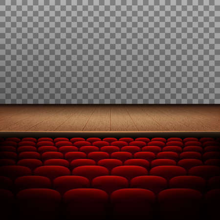 Rows of red cinema or theater seats isolated on transparent background. And also includes EPS 10 vector