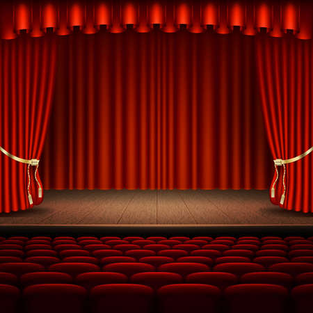 Stage with red curtain and an empty chairs. EPS 10 vector illustration