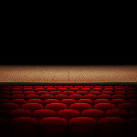 Rows of red cinema or theater seats isolated on black background.