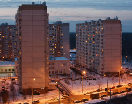 Houses in the residential area in Moscow shot in winter at night time
