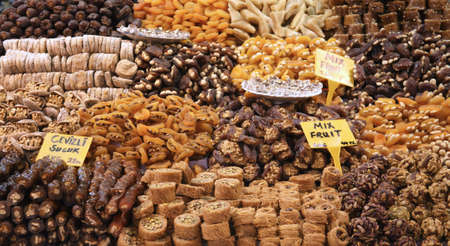 Assortment of traditional sweet Turkish delight. Shot made in the Spice Bazaar in Istanbul, Turkey photo