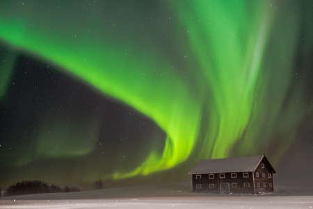 polar light: A winterdream in Northern Sweden Stock Photo
