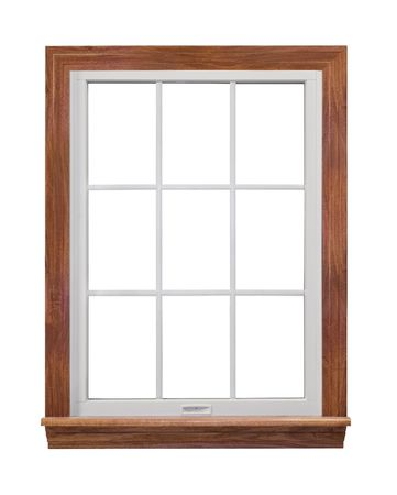 white trim: Residential window isolated on white