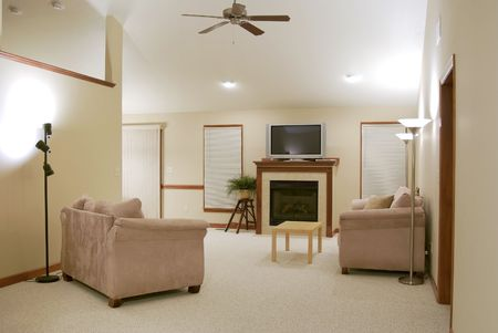 wood blinds: Sparsely Decorated Living Room