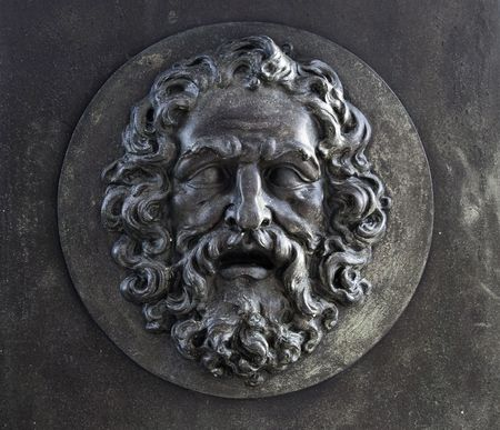 greek gods: Bearded Man Relief