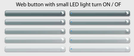 Web Button with small LED light turn ON - OF ease change spot color Grey Vector