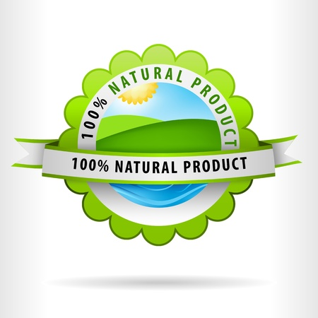 clean air: Green Clean Air Land and water for 100 percent Natural Product Illustration