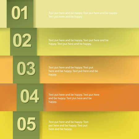 yelow: Paper numbered banners in autumn colors design template