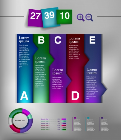 Post note papert and infographic element  Vector
