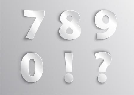 Alphabet white number letter with shadow 7, 8, 9,  ,   Ilustração