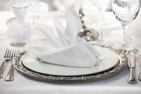 Fancy table set for a wedding party event on a table