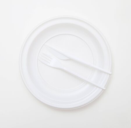 dishware: White disposable dishware set Fork and Knife Stock Photo