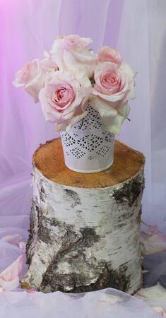 Beautiful roses flowers in vase