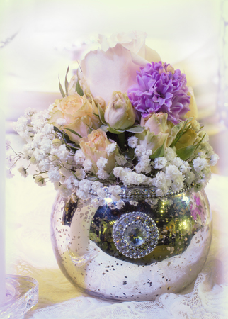 Beautiful roses and flowers in vase