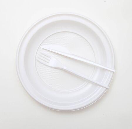 White disposable dishware set Fork and Knife Banco de Imagens