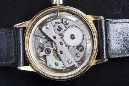 vintage watch machinery macro detail