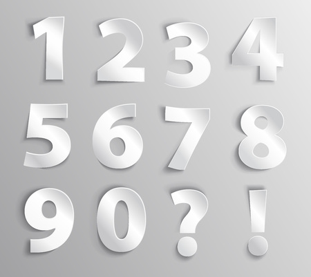 Alphabet white paper number letter with shadow