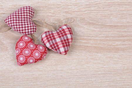 Hearts on wood photo