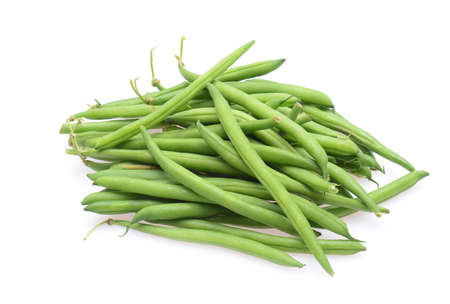 Fresh green string beans isolated on a white background Stock Photo