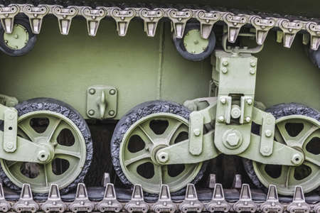 Photograph of decommissioned WWII US Army tank Stuart M3A1 caterpillar drive mechanism - Detail  photo