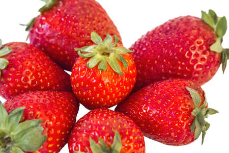 Bunch of fresh Spring Strawberries isolated on white background  photo
