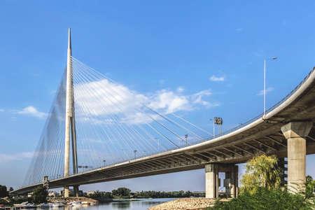 suspension Bridge Over Ada pylon, Belgrade photo