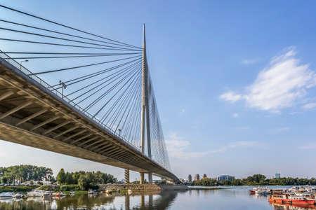 Panoramic photograph of new suspension Bridge Over Ada pylon - Belgrade - Serbia  photo