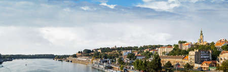 Belgrade panorama with Tourist port on Sava river, with Kalemegdan fortress and St  Michael photo