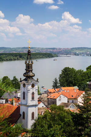 Photograph of panoramic view from Gardos - Zemun, on Saint Nicholas church and river Danube  Zemun, Belgrade,  Republic of Serbia  Фото со стока