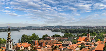 Panoramic view from Gardos Lookout In Zemun, on River Danube, Saint Nicholas Church and Church of Ascension of the Holy Virgin Mary - Zemun, Belgrade, Republic of Serbia  photo