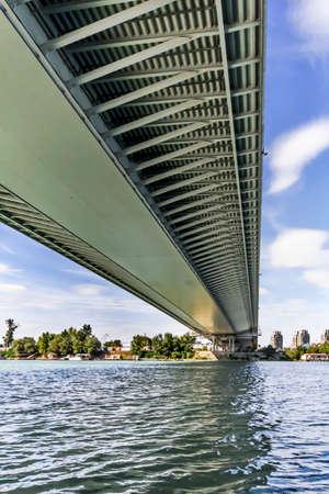 Suspension Ada Bridge on Sava river, Belgrade, Republic of Serbia, modular steel girder framework detail, with metal grid, ribs and beams  Stock Photo