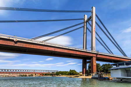 Belgrade s New railroad bridge over  Sava river, with details of bridge lower girder construction, a steel truss framework, a steel girder boxes, equipped with rafters, posts and struts   photo