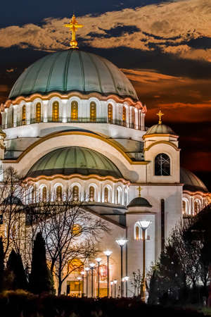 copper coated: the Temple of Saint Sava at late evening Stock Photo